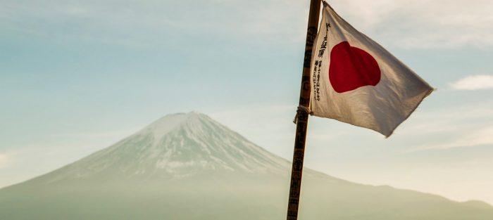 Japonsko, vlajka, Fuji